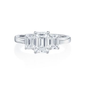 2.25ct tw Emerald Cut Diamond 3-Stone Engagement Ring
