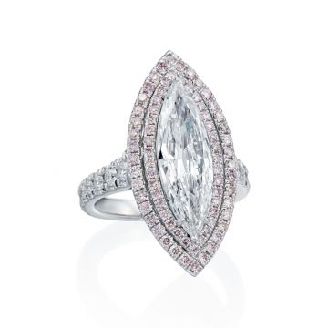 2.73ct Marquise Diamond Ring with Pink Diamond Double Halo, Rare Colorless and Flawless