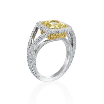 3.75ct Yellow Radiant Cut Diamond Engagement Ring