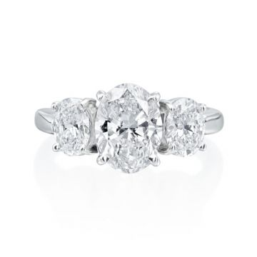 3.18ct tw Oval Diamond 3-Stone Engagement Ring