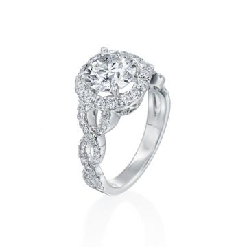 2.25ct Round Diamond Halo Engagement Ring