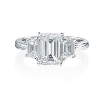 2.76ct tw Emerald Cut Diamond Engagement Ring with Trapeze Accents