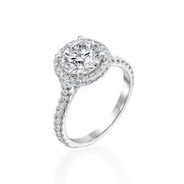 3.03ct Round Diamond Halo Engagement Ring