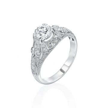 0.85ct Round Diamond Vintage Engagement Ring