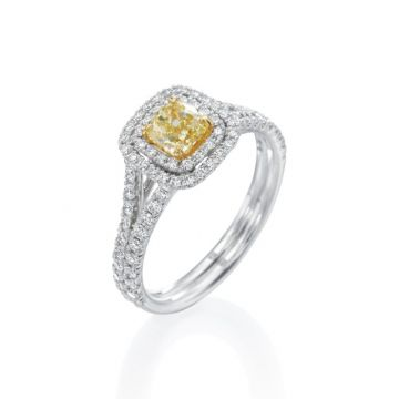 0.63ct Cushion Cut Yellow Diamond Double Halo Engagement Ring