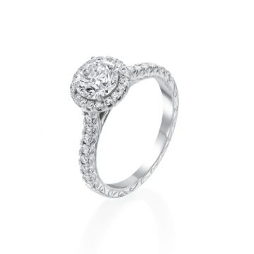 0.90ct Round Diamond Halo Engagement Ring