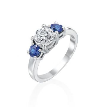 1.04ct European Cut Diamond 3-Stone Ring with Sapphires
