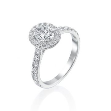 0.71ct Oval Diamond Halo Engagement Ring