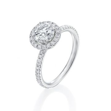 1.03ct Round Diamond Halo Engagement Ring