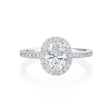 1.02ct Oval Diamond Halo Engagement Ring