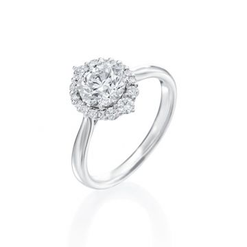1.07ct Round Diamond Halo Engagement Ring