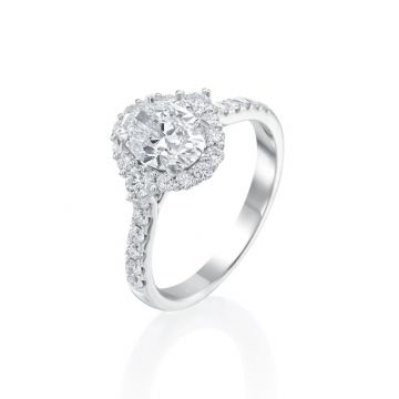 1.01ct Oval Diamond Halo Engagement Ring