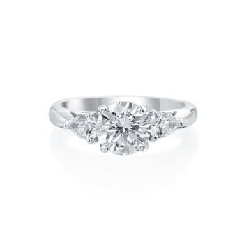 2.00ct tw Round Diamond Engagement Ring with Pear Shape Accents