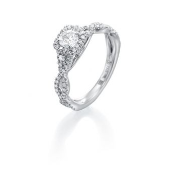 0.65ct tw Cushion Cut Diamond Halo Engagement Ring