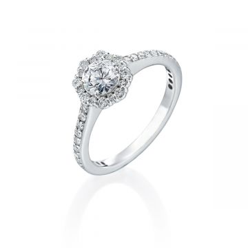 0.52ct Round Diamond Halo Engagement Ring