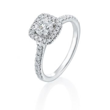 0.57ct Round Diamond Halo Engagement Ring