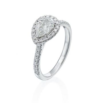 0.83ct Pear Shape Diamond Halo Engagement Ring