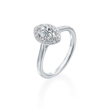 0.46ct Marquise Diamond Halo Engagement Ring