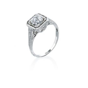 1.00ct Old Mine Cut Diamond Vintage Engagement Ring