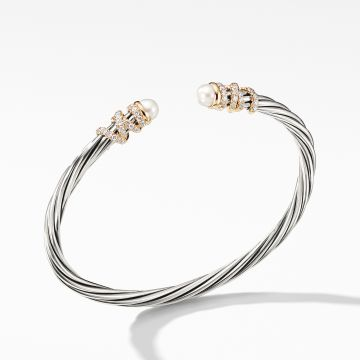 David Yurman Helena End Station Bracelet with Pearls, Diamonds and 18K Gold, 4mm