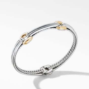 David Yurman Thoroughbred® Double Link Bracelet with 18K Yellow Gold