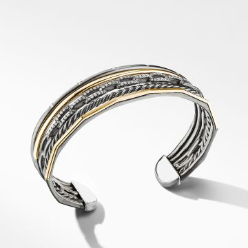 David Yurman Stax Five-Row Cuff Bracelet in Blackened Silver with Diamonds