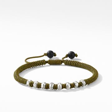 David Yurman DY Fortune Woven Bracelet in Army Green with Black Onyx