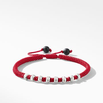 David Yurman DY Fortune Woven Bracelet in Red with Black Onyx