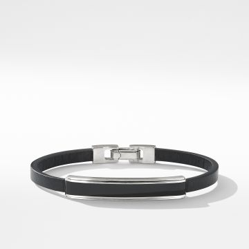 David Yurman Deco Bar Station Bracelet in Black Leather with Black Onyx