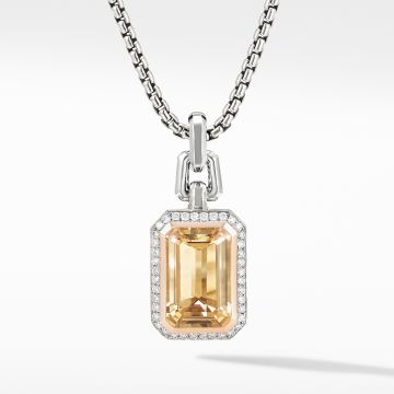 David Yurman Novella Pendant with Champagne Citrine, Pavé Diamonds and 18K Rose Gold