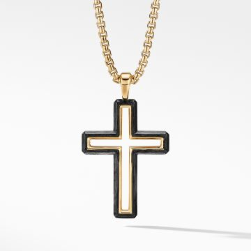 David Yurman Forged Carbon Cross Pendant with 18K Gold