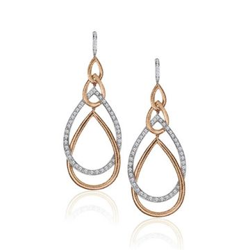 Gumuchian Peacock 18k Two Tone Gold Diamond Drop Earrings
