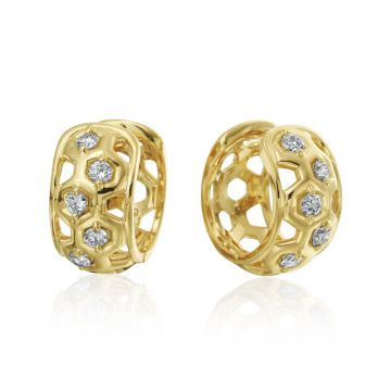 "Gumuchian 18k Yellow Gold Honeybee ""B"" Diamond Huggie Earrings"