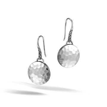 John Hardy Dot Collection Hammered Palu Round Disc Dangle Earrings