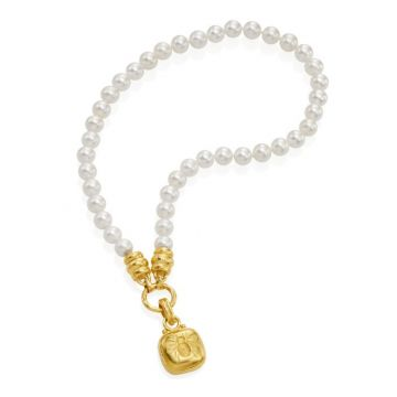 Elizabeth Locke 19k Yellow Gold Pearl Necklace