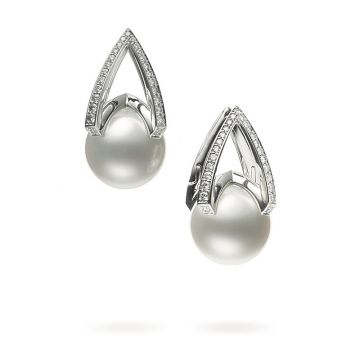 Mikimoto 18k White Gold M Collection Pearl Earrings