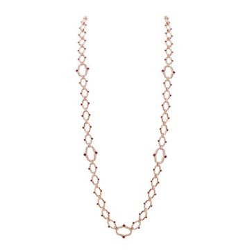 Gumuchian Secret Garden 18k Rose Gold Diamond Ruby Necklace