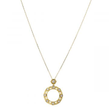 "Gumuchian 18k Yellow Gold Honeybee ""B"" Diamond Pendant"