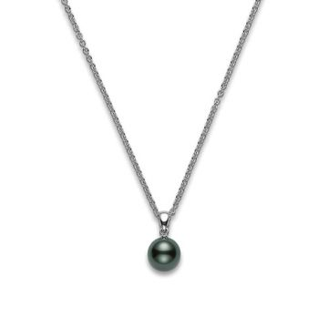 Mikimoto 18k White Gold Black South Sea Cultured Pearl Pendant