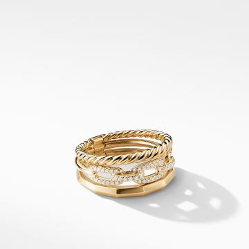 David Yurman Stax Narrow Ring with Diamonds in 18K Gold, 9.5mm