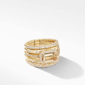 David Yurman Stax Statement Ring in 18K Yellow Gold with Champagne Citrine and Diamonds