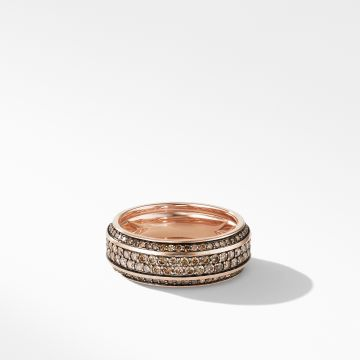 David Yurman Beveled Band Ring in 18K Rose Gold with Cognac Diamonds
