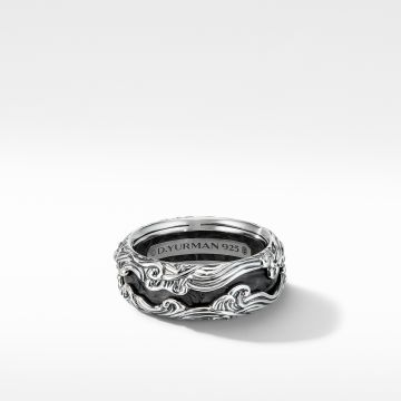 David Yurman Waves Band Ring with Forged Carbon