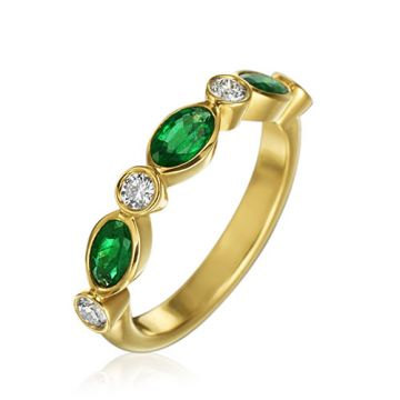 Gumuchian Marbella 18k Yellow Gold Diamond Emerald Stackable Band