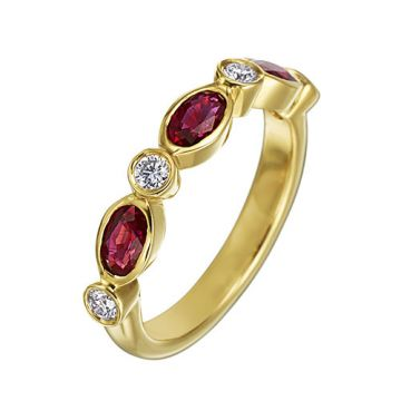 Gumuchian Marbella 18k Rose Gold Diamond Ruby Stackable Band