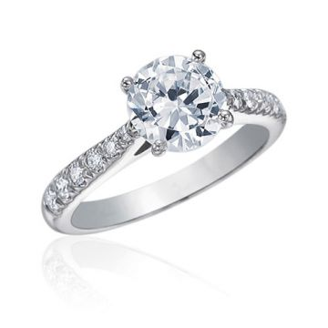 Gumuchian Bridal Platinum Cinderella Diamond Semi-Mount Engagement Ring