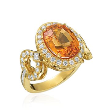Gumuchian 18k Yellow Gold Diamond Mandarin Garnet Gallop Ring