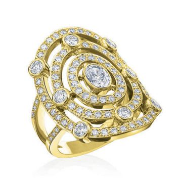 Gumuchian Carousel 18k Yellow Gold Carnival Diamond Illusion Halo Ring