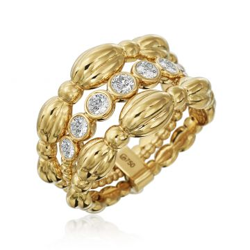 Gumuchian 18k Yellow Gold Nutmeg Large Three Row Seven Diamond Ring