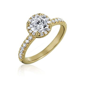 Gumuchian Bridal 18k Yellow Gold Cinderella Halo Diamond Semi-Mount Engagement Ring